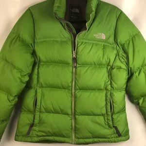 North Face Grass Green Puffer Coat size medium